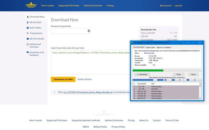 Скриншот 1 программы Premium Link Generator