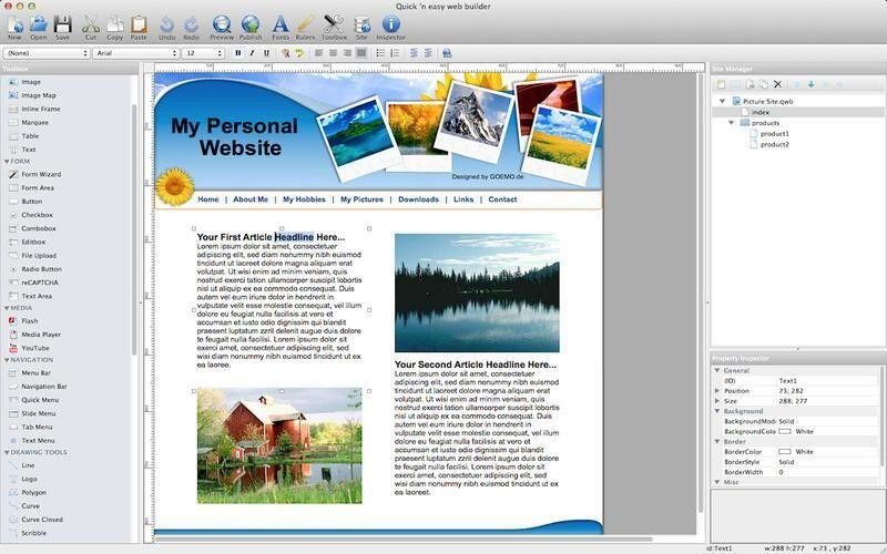 Скриншот 1 программы Quick 'n Easy Web Builder