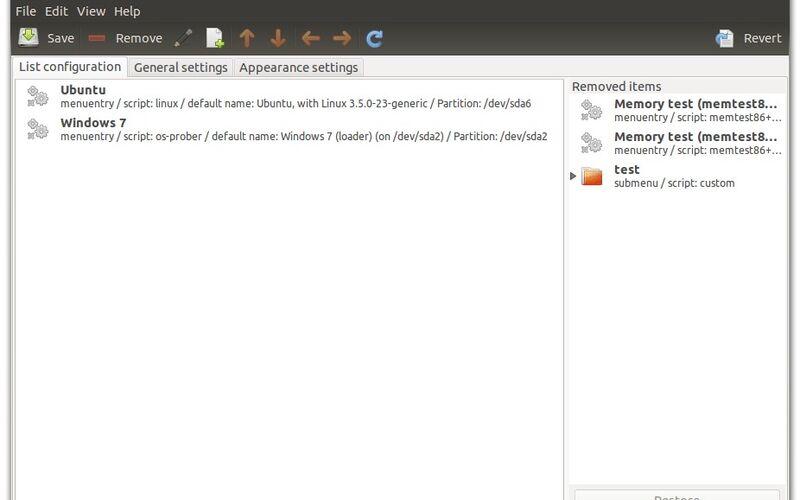 Скриншот 1 программы Grub Customizer