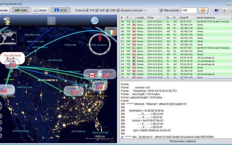 Скриншот 1 программы Open Visual Traceroute
