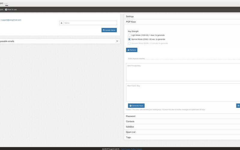 Скриншот 1 программы SCRYPTmail