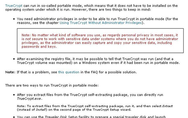 Скриншот 1 программы TrueCrypt