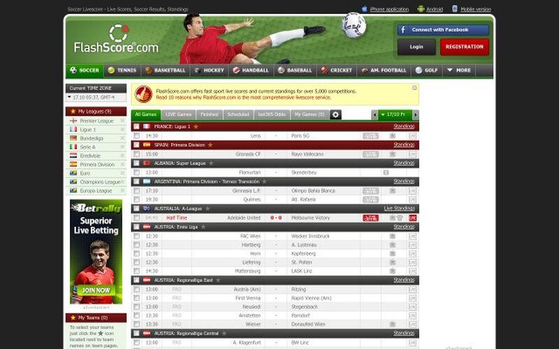 Скриншот 1 программы FlashScore