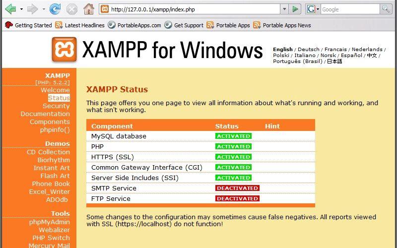 Скриншот 1 программы XAMPP