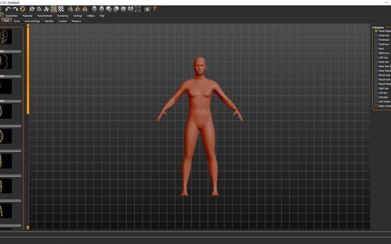 Скриншот 1 программы MakeHuman