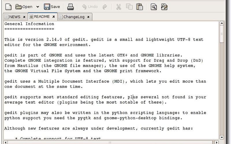 Скриншот 1 программы gedit