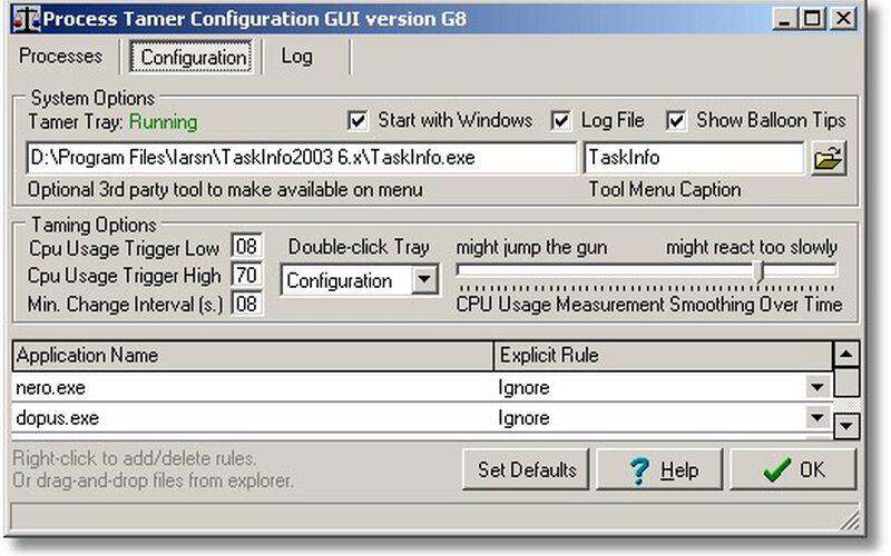 Скриншот 1 программы Process Tamer