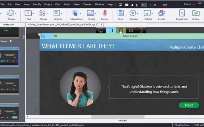 Скриншот 1 программы Adobe Captivate