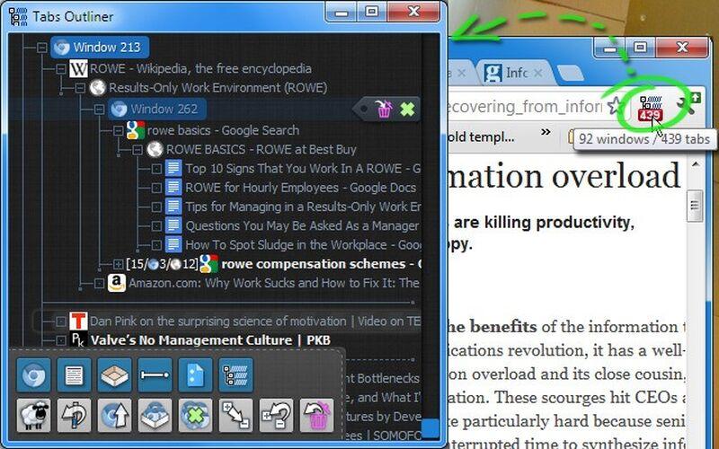 Скриншот 1 программы Tabs Outliner