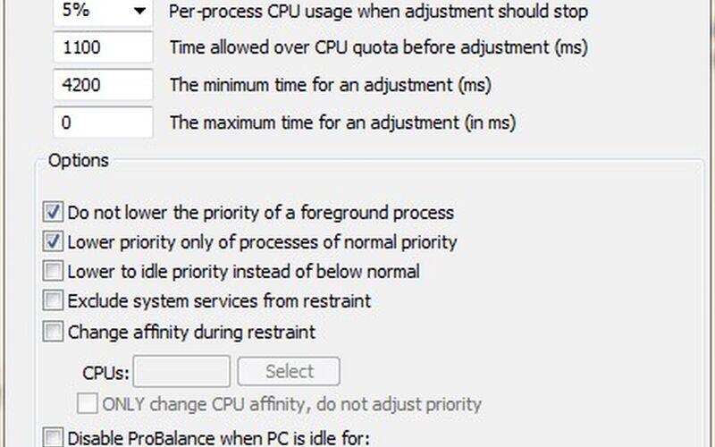 Скриншот 1 программы Process Lasso