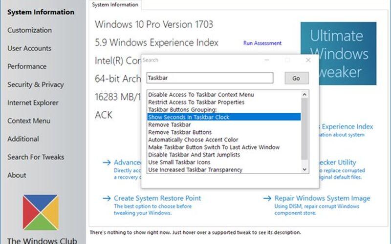 Скриншот 1 программы Ultimate Windows Tweaker