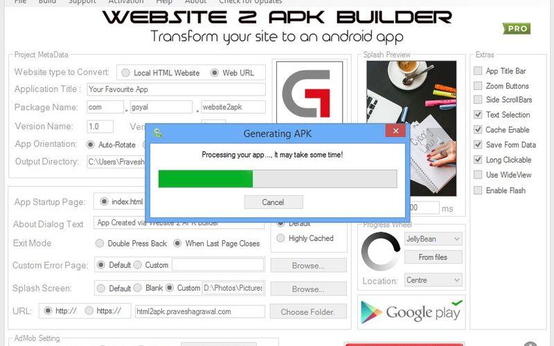 Скриншот 1 программы Website 2 APK Builder