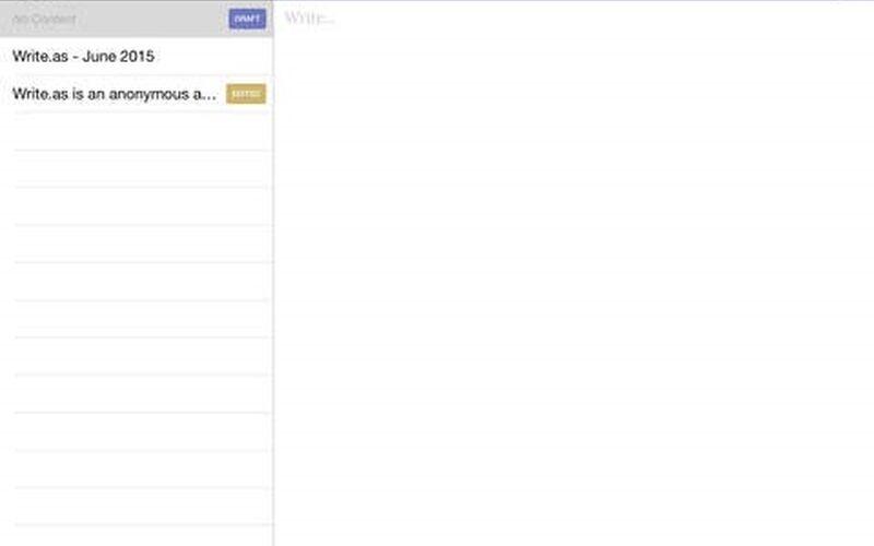 Скриншот 1 программы Write.as