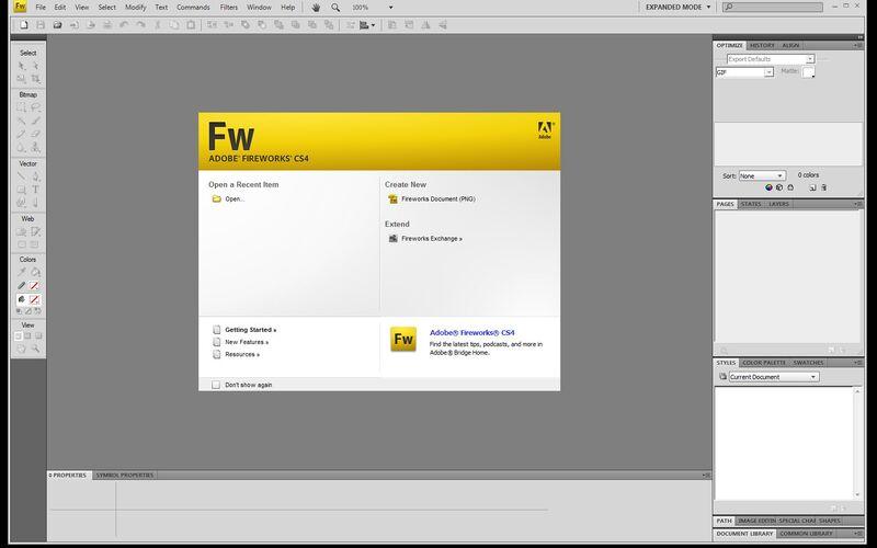 Скриншот 1 программы Adobe Fireworks