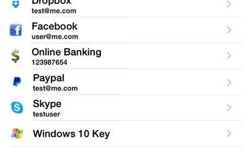 Скриншот 1 программы KeePass Touch