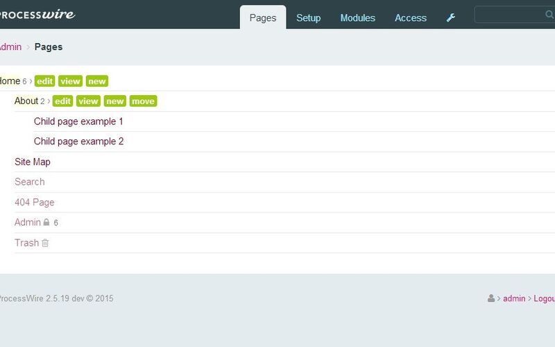 Скриншот 1 программы ProcessWire