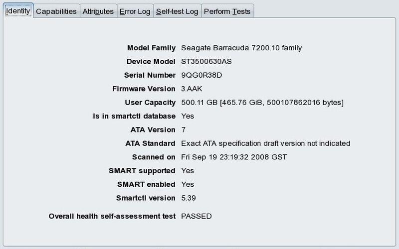 Скриншот 1 программы GSmartControl