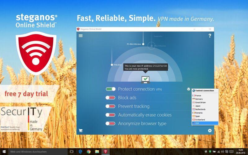 Скриншот 1 программы Steganos Online Shield VPN