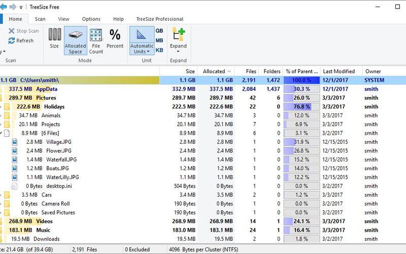 Скриншот 1 программы TreeSize