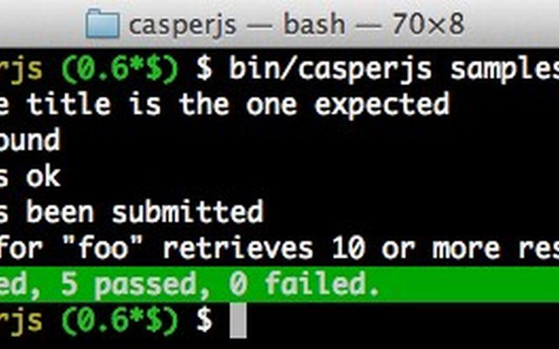 Скриншот 1 программы CasperJS