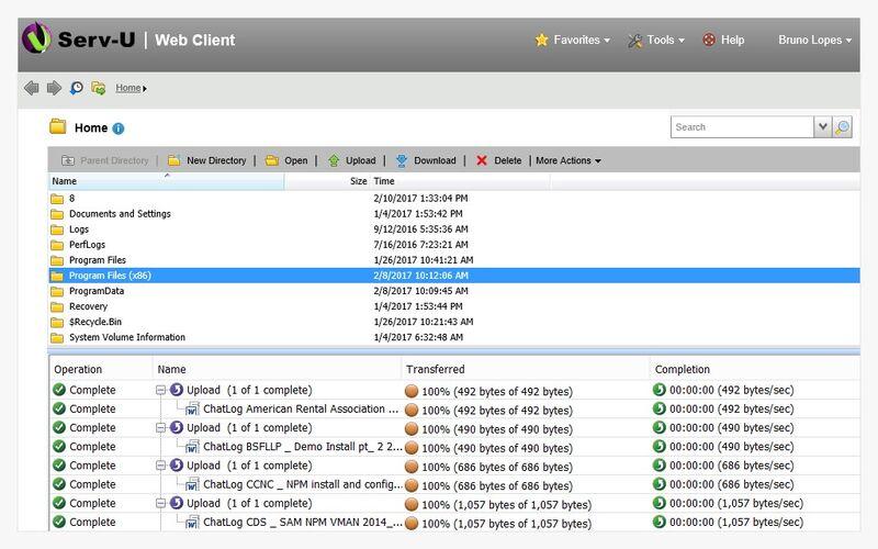 Скриншот 1 программы Serv-U FTP Server