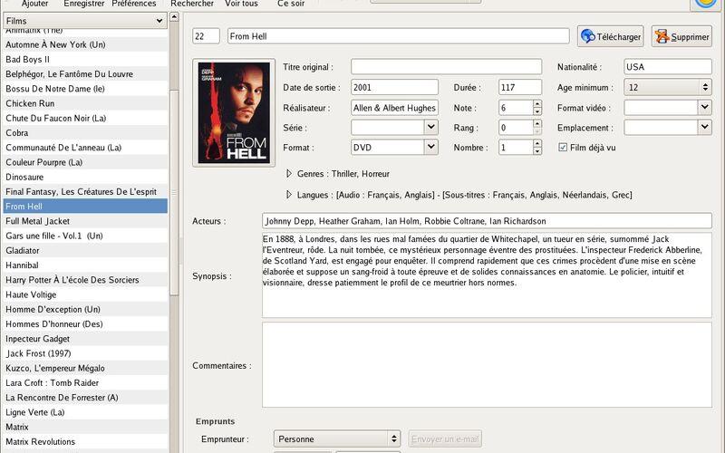 Скриншот 1 программы GCstar