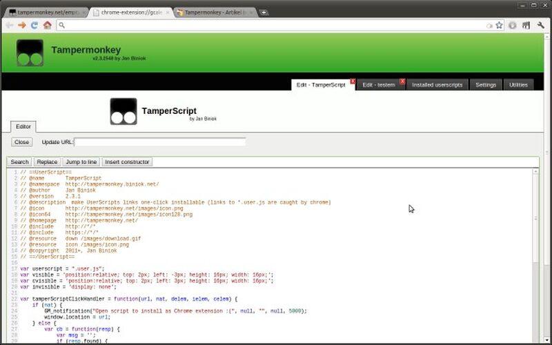 Скриншот 1 программы Tampermonkey