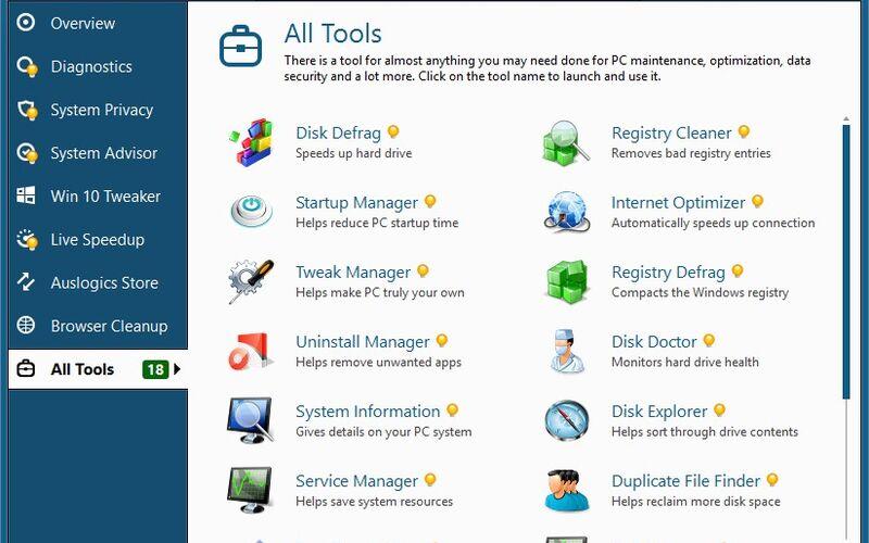 Скриншот 1 программы Auslogics BoostSpeed
