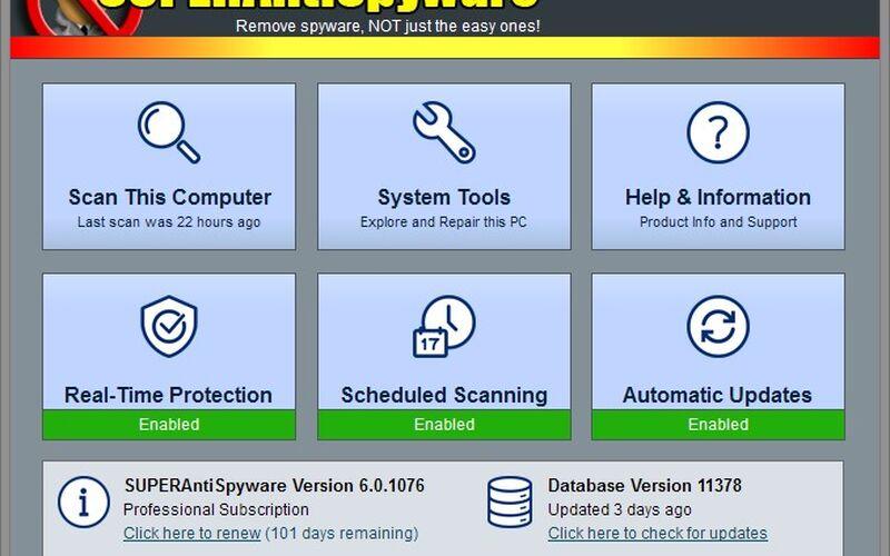Скриншот 1 программы SUPERAntiSpyware