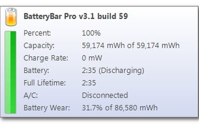 Скриншот 1 программы BatteryBar