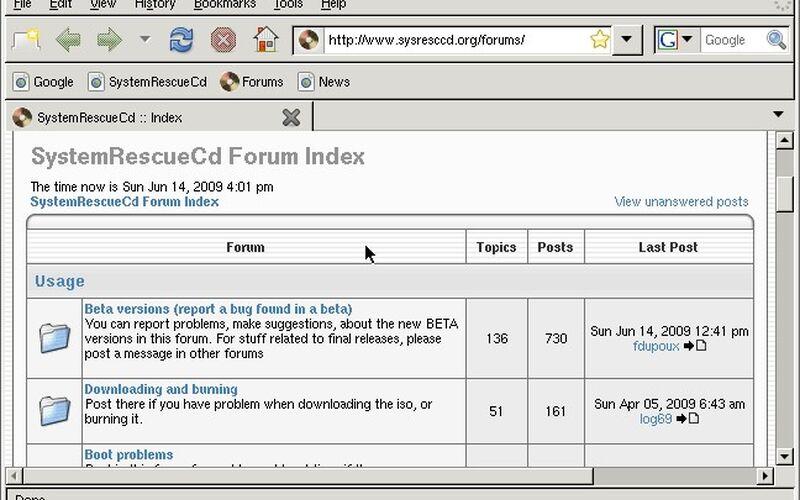 Скриншот 1 программы SystemRescueCd