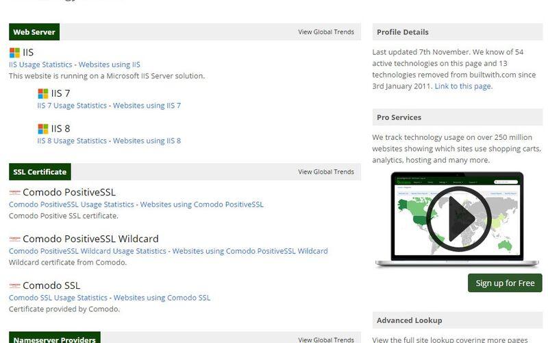 Скриншот 1 программы BuiltWith
