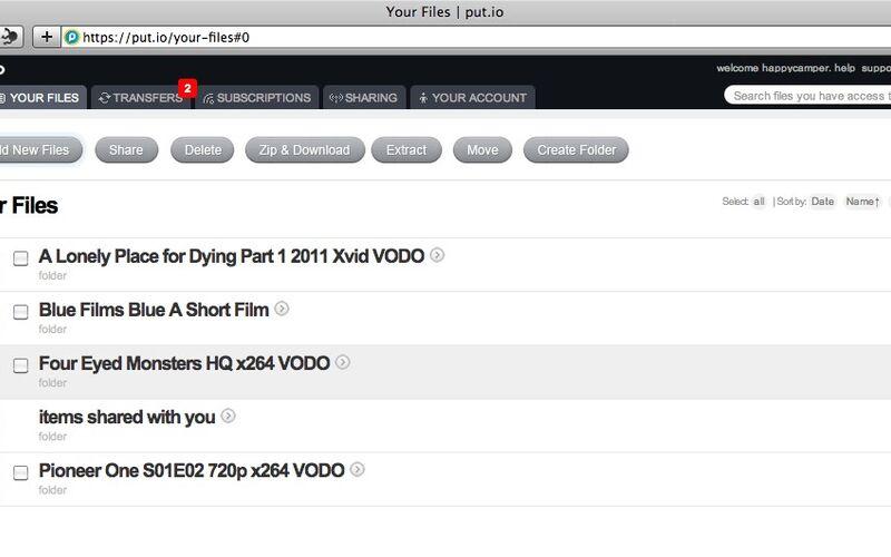 Скриншот 1 программы Put.io