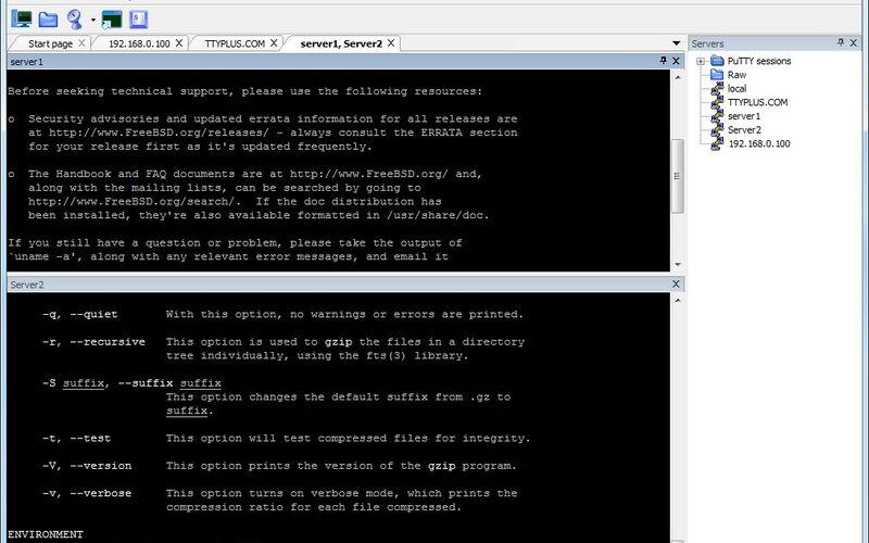 Скриншот 1 программы MTPuTTY (Multi-Tabbed PuTTY)