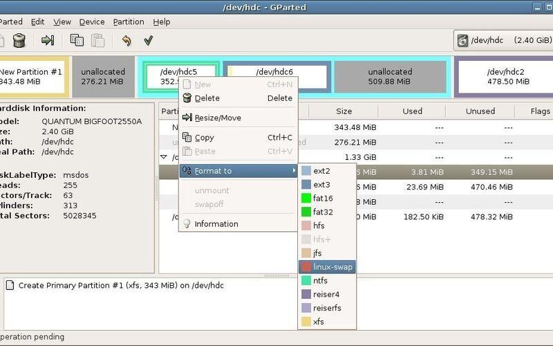 Скриншот 1 программы GParted