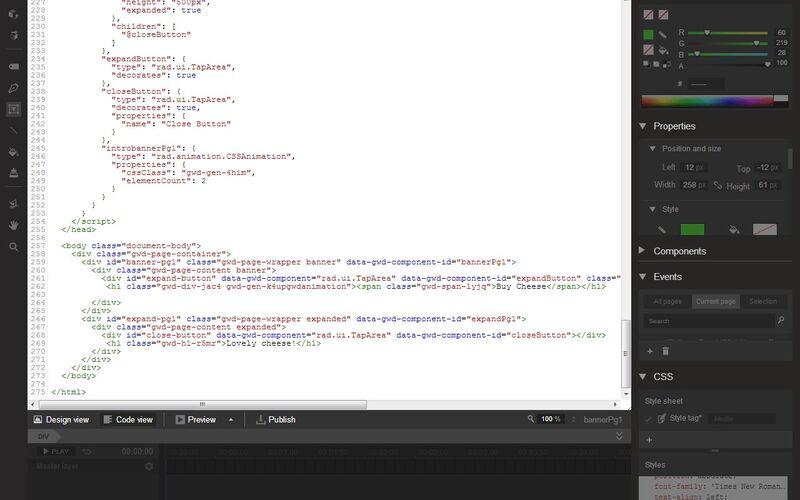 Скриншот 1 программы Google Web Designer