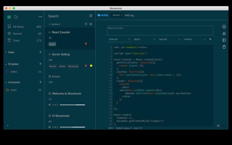 Скриншот 1 программы Boostnote