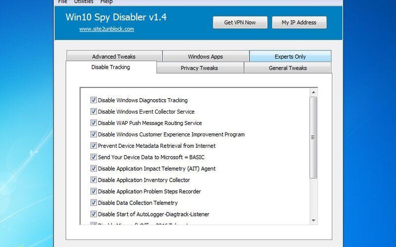 Скриншот 1 программы Win10 Spy Disabler