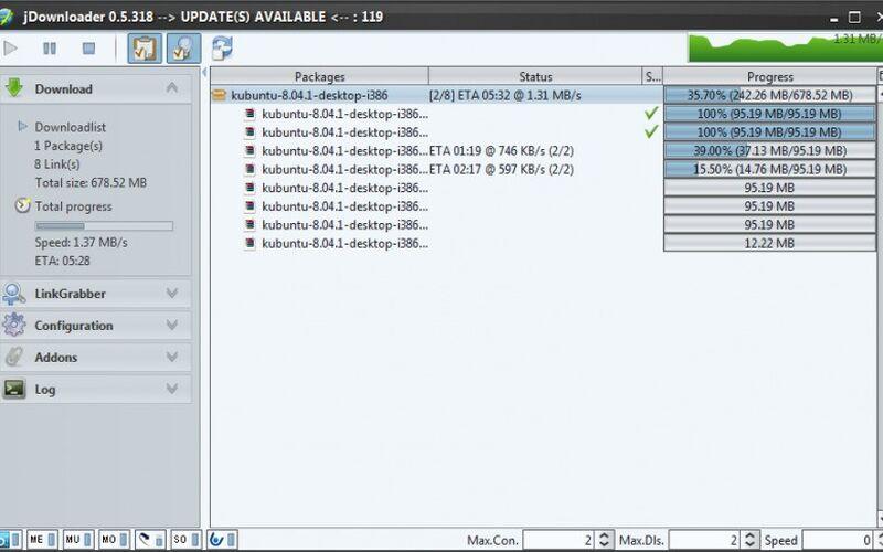 Скриншот 1 программы JDownloader
