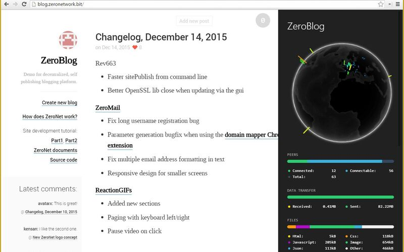 Скриншот 1 программы ZeroNet