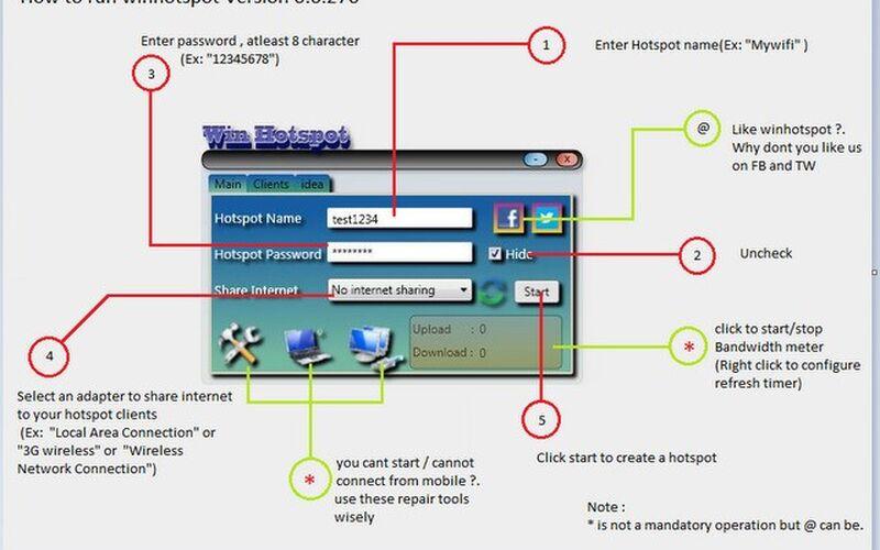 Скриншот 1 программы Winhotspot
