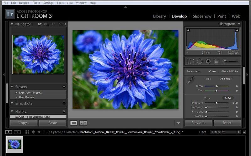 Скриншот 1 программы Adobe Photoshop Lightroom CC