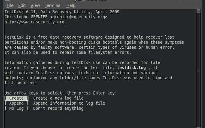 Скриншот 1 программы TestDisk