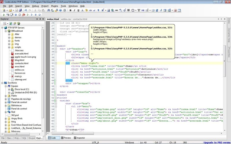 Скриншот 1 программы CodeLobster PHP Edition