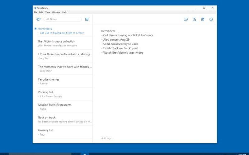 Скриншот 1 программы Simplenote