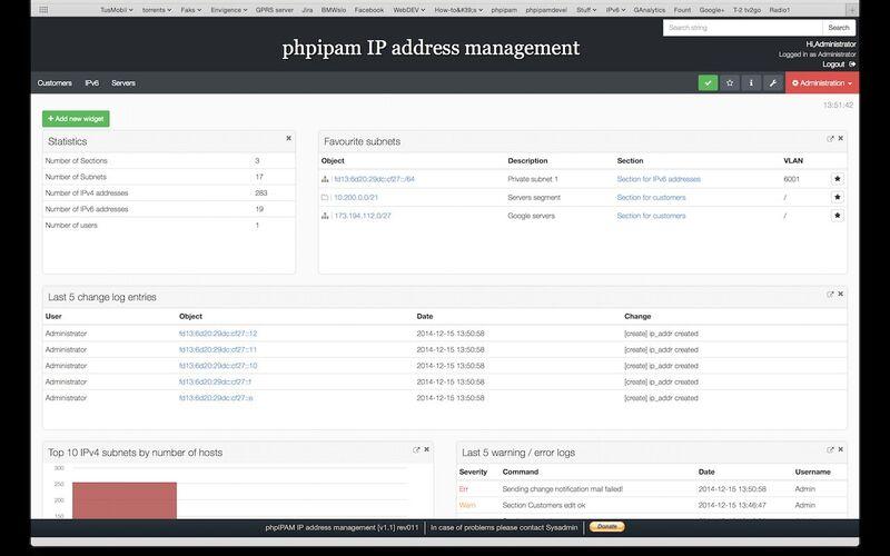 Скриншот 1 программы phpIPAM