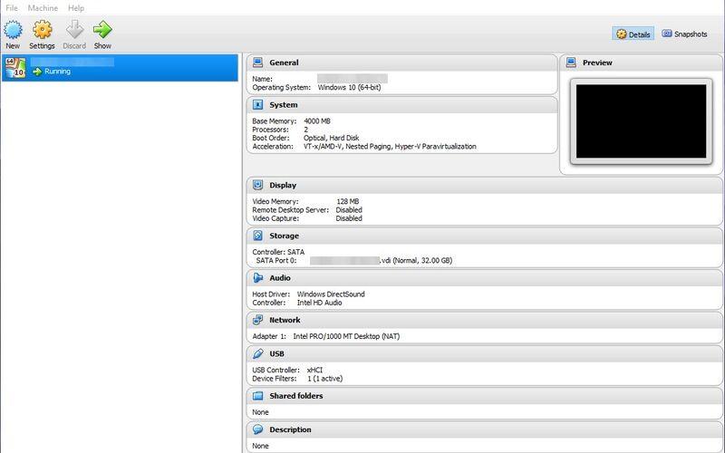 Скриншот 1 программы VirtualBox