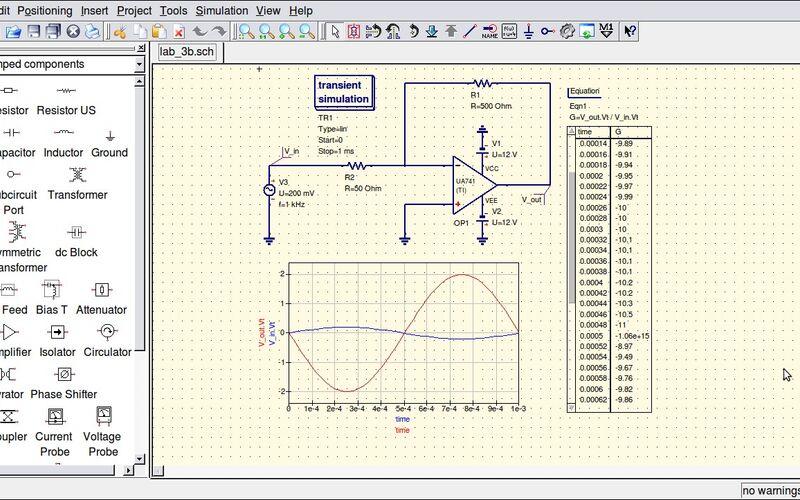 Скриншот 1 программы QUCS