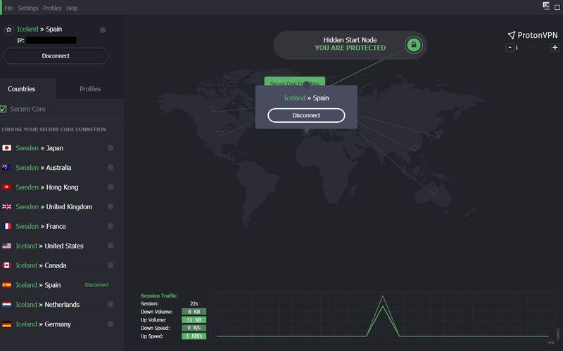 Скриншот 1 программы ProtonVPN