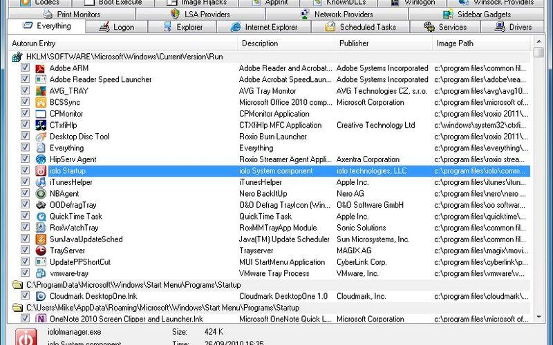 Скриншот 1 программы Autoruns
